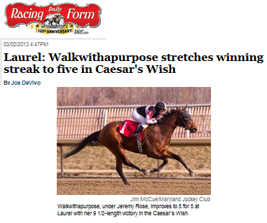 The Daily Racing Form Walkwithapurpose Stretches Winning Streak To